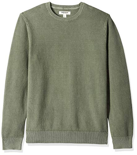Goodthreads Men's Soft Cotton Thermal Stitch Crewneck Sweater, Washed Olive, ()