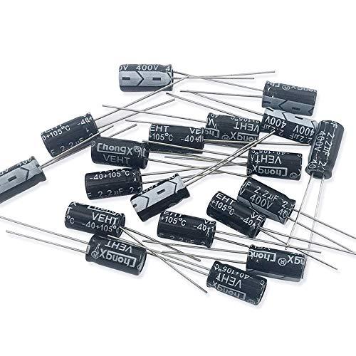 JABINCO 2.2uf 400v Aluminum electrolytic Capacitor for DIY(Pack of 20)