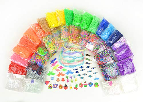 17,774+ Premium Rainbow Color Loom Bands - Bonus Includes 6 Inspirational Bracelets + Free Rubber Band Bracelet, Jewelry and Craft Project ()