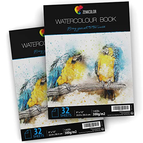64 Pages Watercolor Paper Pad, 9″ x 12″, for Watercolor Paint and Watercolor Pencils – 2 x 32 White Sheets 140lb 300g