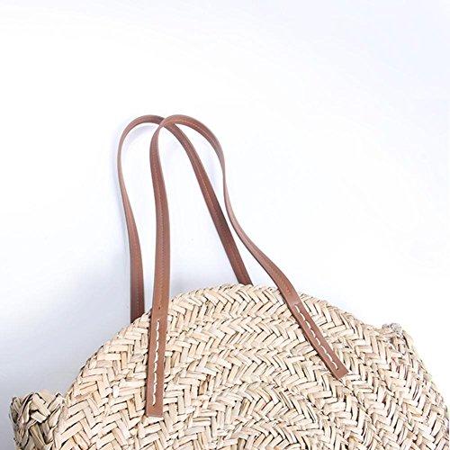 bolso de mujer para hombro al pajitas de viaje Bolsa libre playa bolso bolso de para aire bandolera bandolera bolso pajita verano redonda tZn11pwRq