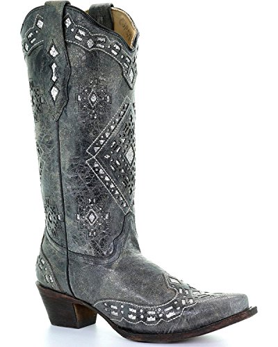 Boot Toe A2963 Glitter Distressed Cowgirl Corral Women's Black Inlay Snip wIqSSZ