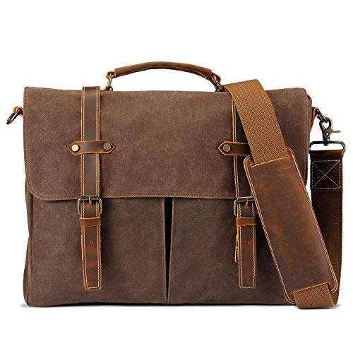 (Mens Messenger Bag Waterproof 15.6'' Vintage Waxed Canvas Computer Bags Genuine Briefcase Laptop Satchel Shoulder Bag Work College Bags Men Women)