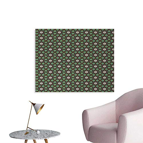 - Oriental Space Poster Traditional Arabesque Pattern with Stripes Ornamental Geometric Design Photo Wall Paper Fern Green Black Camel W36 xL32