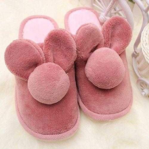 Pantuflas Invierno,Xinan Mujeres Conejo Zapatos Deslizadores Hogar Warm Rojo