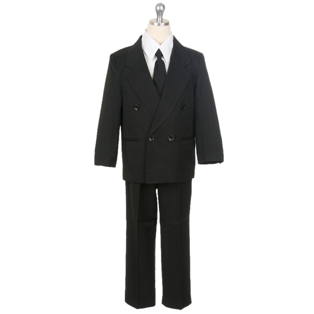 HBDesign Boys 3 Piece Double Breasted Formal Suit Vest Black HBS 3 BK