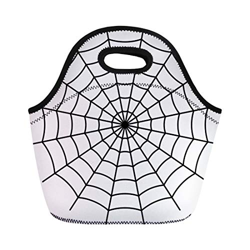 Semtomn Neoprene Lunch Tote Bag Net Spider Black Spiderweb Line Goth Pattern Halloween Circular Reusable Cooler Bags Insulated Thermal Picnic Handbag for Travel,School,Outdoors, Work -