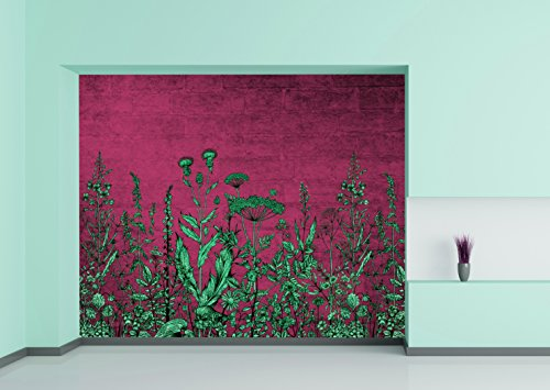 Large Wall Mural Green Flowers on Dark Pink Background Vinyl Wallpaper Removable Wall Decor