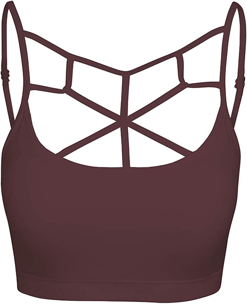 Crisscross Seamless Padded Bralette Caged Cami Top with Removable Pads Small to Plus Size Hot Pink L//XL