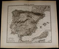 Spanien und PortugalSpain Portugal- Strait of Gibraltar- Mediterranean Sea- Lisbon Printed 1880, Gotha, Germany by Perthes for Stieler.Very detailed and precisely engraved old German map made in the 19th century. With original hand color. In ...