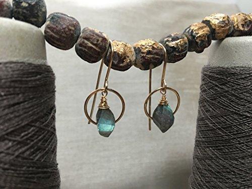 14k Gold Iridescent Blue-Green Labradorite Earrings - Heart Chakra (Heart Labradorite Earrings)