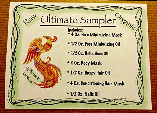 Ultimate Sampler-Pore Minimizing Mask & Oil, Hella Uses OiI, Body Mask, Happy Hair Oil, Conditioning Hair Mask, Healthy Nails Oil