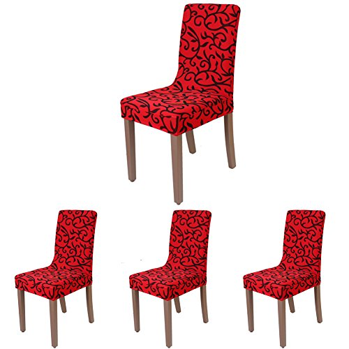 ColorBird Scroll Flower Spandex Dining Chair Slipcovers Removable Universal Stretch Chair Protective Covers for Dining Room, Hotel, Banquet, Ceremony (Set of 4, Red)