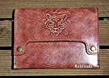 Tiger Leather Mens Bag, mens clutch, iPad mini cover, eReader case, hand stitched and tooled leather, mens gift, brown handbag