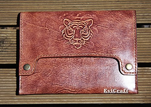 Tiger Leather Mens Bag, mens clutch, iPad mini cover, eReader case, hand stitched and tooled leather, mens gift, brown handbag by Evi Craft