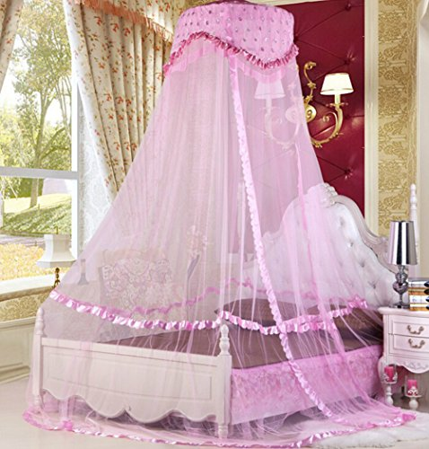 Sinotop Baby Crib Canopy Netting Luxury Princess Bed Net Round Hoop Netting Mosquito Net Bedroom Decor (pink)