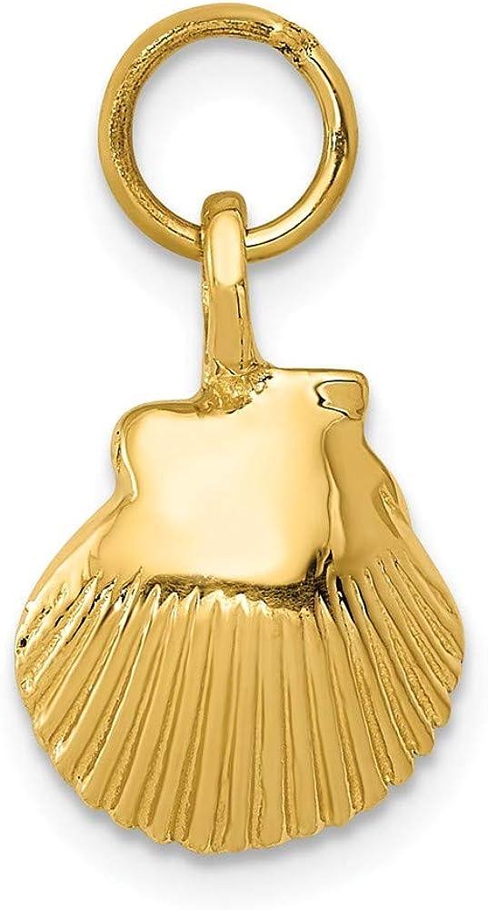 Jewel Tie 14k Yellow Gold Seashell Pendant 10mm x 16mm