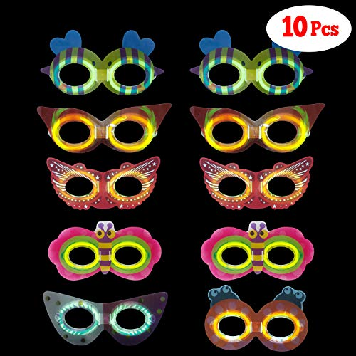 LaRibbons Glow in The Dark Masks Pack, 10Pcs Glow Mask Stick for Gifts and Halloween Party]()