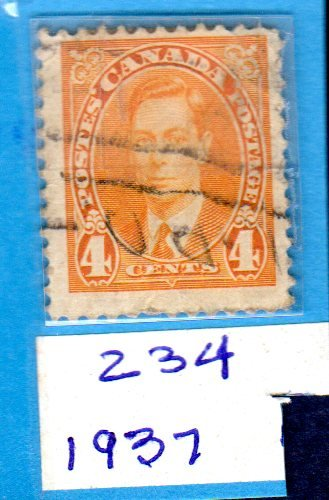 Postage Stamps Canada. One Single Used 4 Cents Yellow George VI Stamp Dated 1937, Scott #234.