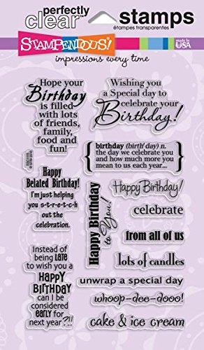 STAMPENDOUS SSC1115 Perfectly Clear Stamp, Birthday Assortment