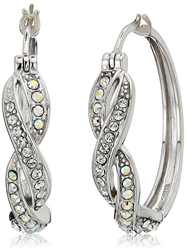 re Boreale and White Twisted Hoop Earrings Made with Swarovski Crystal ()