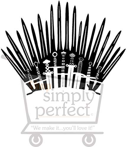 Game of Throne Parody Inspired Toilet Decal Iron Throne Toilet Decal Sticker- Iron Throne Behind Toilet On Bathroom Wall by Shop Simply Perfect (Image #1)