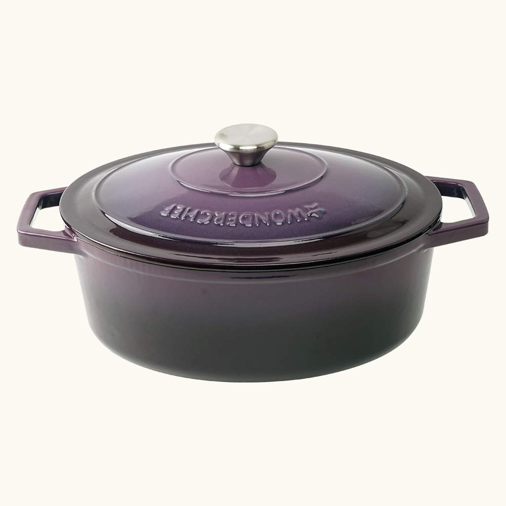 Wonderchef Ferro Cast-Iron Oval Casserole with Lid- 29cm, 4.4L, 3.5mm, Purple