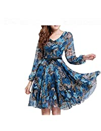 Womens Floral Print Vintage Dress Plus Size Sweet Lady Long Sleeve V Neck Casual Summer Chiffon