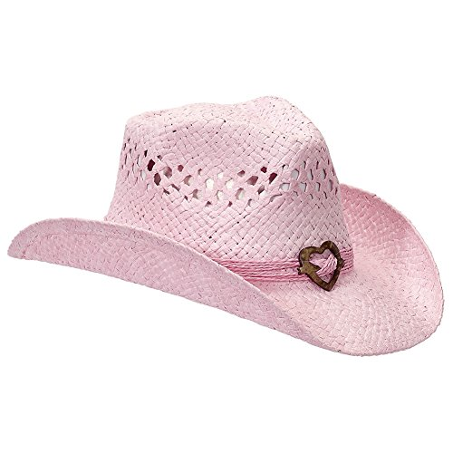 Pink Cowboy Straw Hat - Port Classic Shapeable Straw Country Cowboy Hat, Heart (Pink)