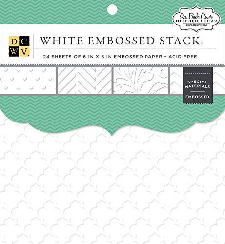 White 6x6 Embossed Cardstock Pack, 24 Sheets