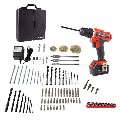 Stalwart 20V Cordless Drill with Rechargeable Lithium-Ion Battery and 89 Piece Accessory Set – Portable Power Tool with Bits, Drivers and Brushes
