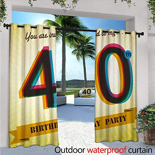 40th Birthday Outdoor Privacy Curtain for Pergola W84 x L108 Vintage Style Graphic Banner Party Invitation Theme Optical Striped Design Thermal Insulated Water Repellent Drape for Balcony ()
