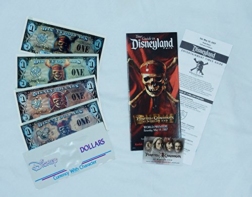 Pirates of the Caribbean Disney Dollars 2007 Uncirculated (Set of 3) + 2011 (1) + 2007 At World's End Premiere Items (Queen Anne Pin)