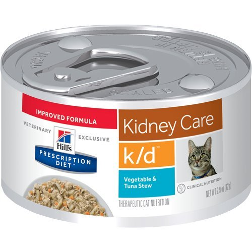 HILL'S Prescription Diet k/d Kidney Care Vegetable & Tuna Stew Canned Cat Food 12/2.9 oz (Cat Food For Cats With Kidney Disease)