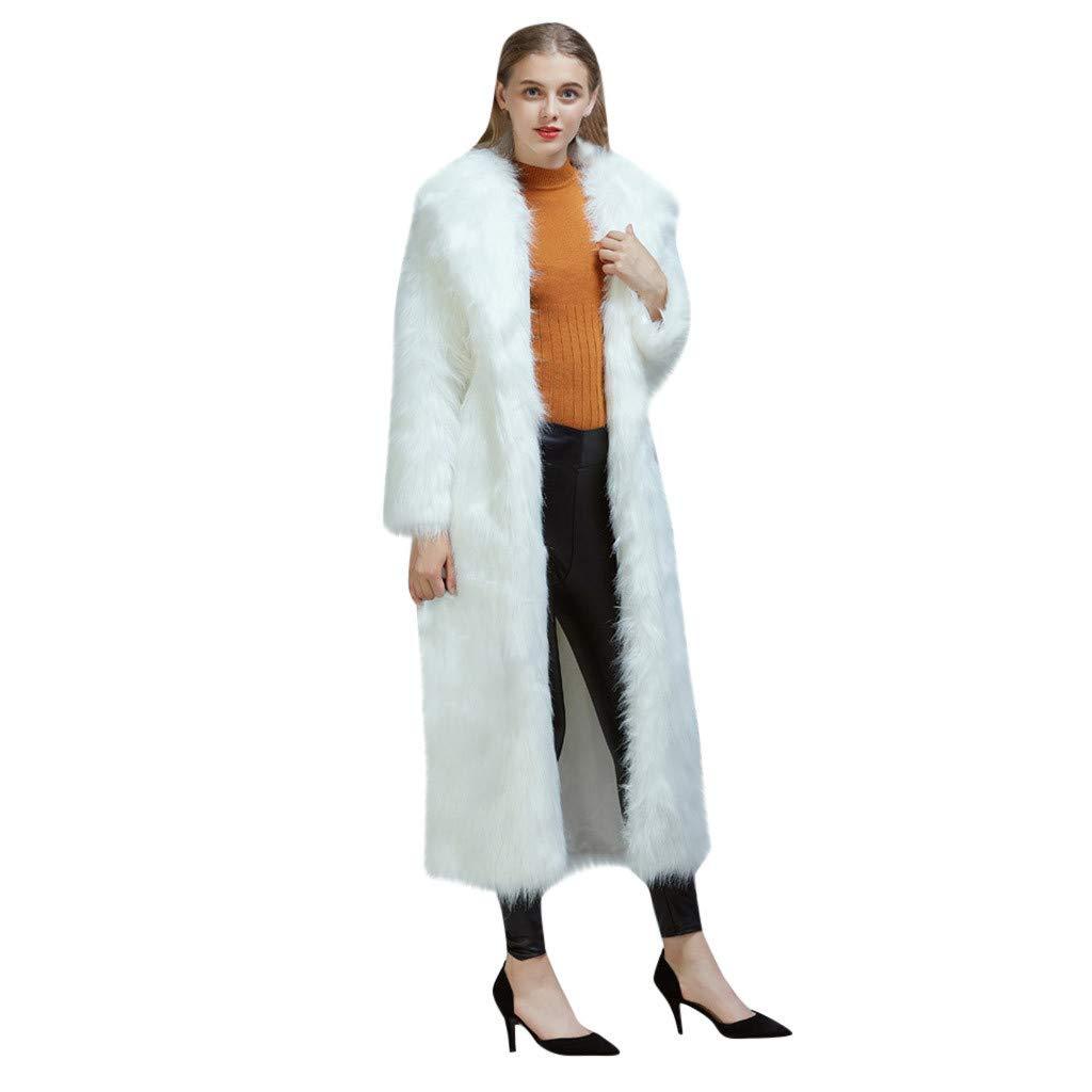 TIFENNY Fashion Faux Fur Coat for Women Outwear Long Sleeves Warm Coat Plush Jacket Long Overcoat Lamb Long Outcoat by TIFENNY_Shirts