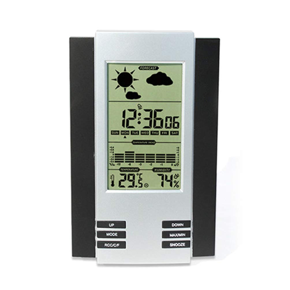 Digital Alarm Clock Silent Easy to Read Large LCD Display Screen Humidity Measurement with Calendar Luminous Hygrometer for Home by Lin-Tong