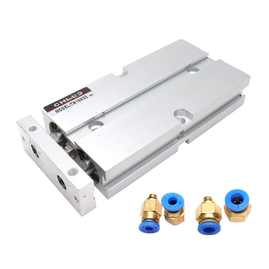 Sydien Aluminum Alloy Pneumatic Air Cylinder 16mm Bore 50mm Stroke Double Action Double Rod with 4Pcs Straight Pneumatic Quick Fitting (TN16X50)