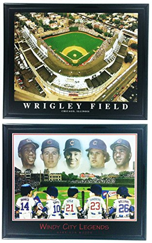 (Chicago Cubs Little Legends Framed Lithograph and Wrigley Field Framed Aerial Photo Set of 2 LL6003)
