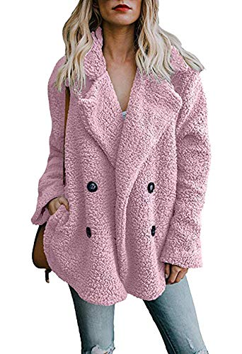 - Womens Open Front Jacket Coat Winter Warm Button Outwear Overcoat with Pockets Pink 2X-Large