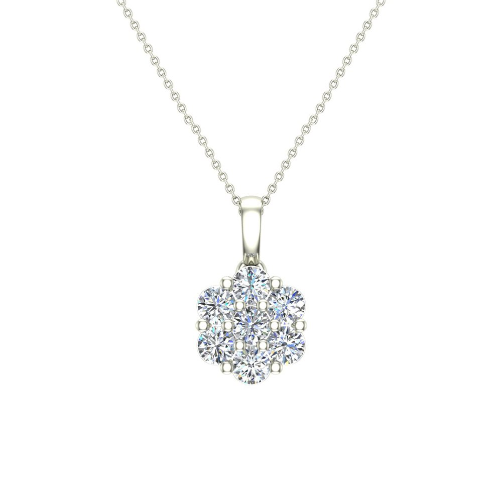 14K Gold Necklace Diamond Cluster Flower Style with 20'' Chain