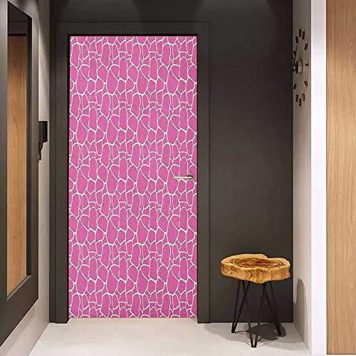 (Onefzc Door Wall Sticker Giraffe Abstract Tropical Jungle Animal Skin Pattern Pink Camouflage Style Feminine Design Mural Wallpaper W38.5 x H79 Pink Cream)