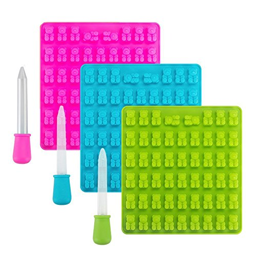 3 Pack 53 Cavities Candy Silicone Moulds & Ice Cube Trays - Gummy Bear...