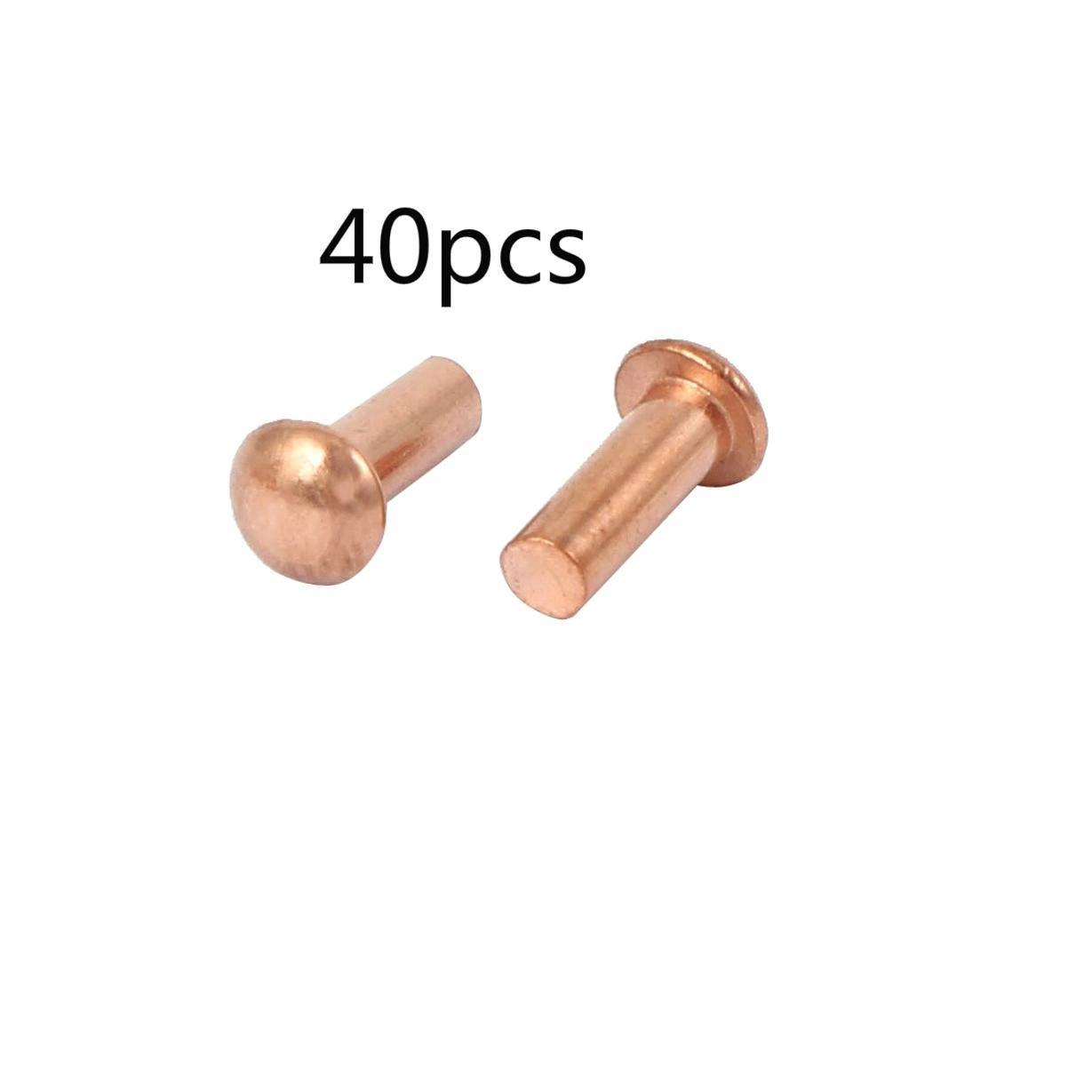 40 Piezas ALONGB Eje Redondo Cobre Remaches s/ólidos Sujetadores Herrajes 3 mm x 8 mm Tono Dorado