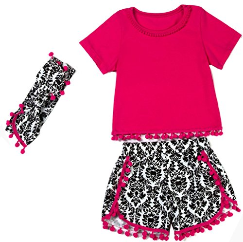 messy-code-girls-outfit-hot-pink-t-shirt-floral-print-shorts-toddlers-gold-dot-pompom-clothing-set-6