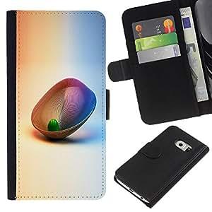 Abstract 3D - la tarjeta de Crédito Slots PU Funda de cuero Monedero caso cubierta de piel Samsung Galaxy S6 EDGE
