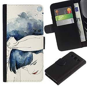 APlus Cases // Samsung Galaxy S3 III I9300 // Pintura Acuarela Chica Azul Cabello // Cuero PU Delgado caso Billetera cubierta Shell Armor Funda Case Cover Wallet Credit Card