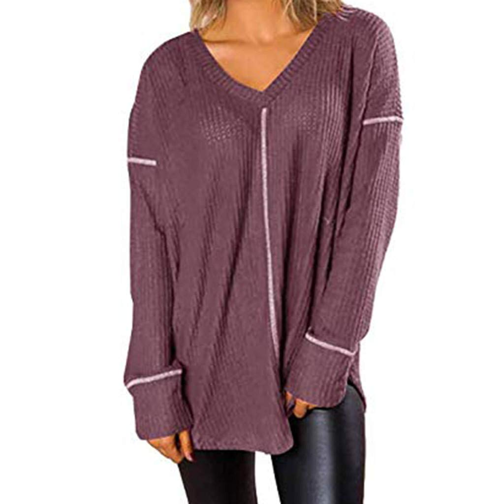 AOJIAN Blouse Women Long Sleeve T Shirt V-Neck Loose Sweatshirt Tees Sweater Shirts Tops Purple by AOJIAN (Image #1)