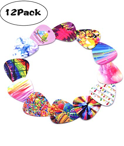 Cheerhas Celluloid-12 Pack Guitar Picks Girly Set Accorted Colorful Pattern Set -Best Gifts for Girls Kids Teens Daughter Granddaughter Women-0.71mm (Style 1, As Picture)