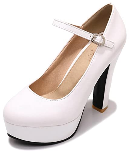 42af029c943 Easemax Women s Sexy Round Toe Ankle Strap High Chunky Heel Platform Court  Shoes (White