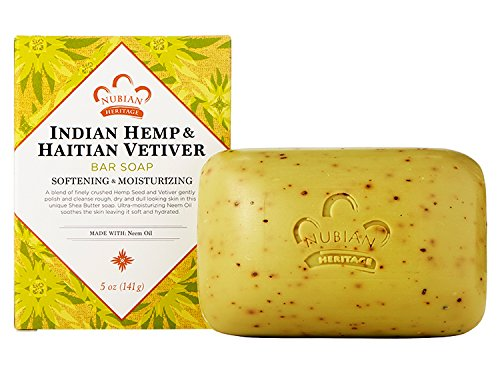 Nubian Indian Hemp and Haitian Vetiver Soap, 5 Ounces (Pack of 3)